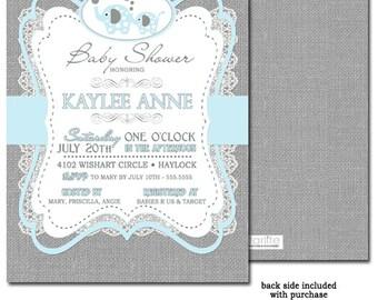 Elephant Baby Shower Invitation Boy, Blue + Gray Burlap Lace Boy Baby Shower Invitation, Printable Invitation, Printed Invitations