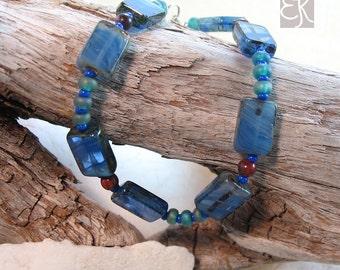 Beautiful Blue Czech Glass Bracelet, Czech Glass Bracelet, Gemstone Bracelet, Blue Bracelet, Bohemian Beaded Bracelet, Gift for Her