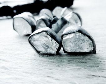 SEMI-ANNUAL SALE Raw crystal studs   Crystal Quartz earrings   Rock quartz post earrings   Quartz studs   Rough crystal quartz earrings
