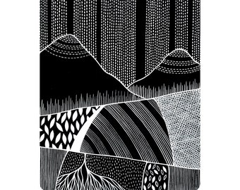 Patterned Landscape 3 - Archival 8x10 Art Print - Contemporary Black and White Watercolour Painting - by Natasha Newton