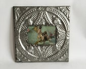 """AUTHENTIC Repurposed Tin Ceiling 4"""" x 6"""" Shabby Chic Silver Picture Frame Reclaimed Photo 202-16"""