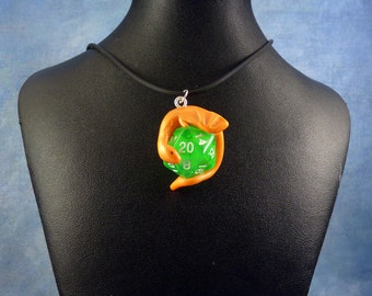 Orange and Green Dicekeeper Dragon Necklace - D20 Pendant