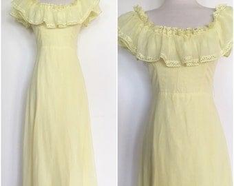 Lemon Yellow 1970s Peasant Dress - Hippie Boho 70s Maxi Dress