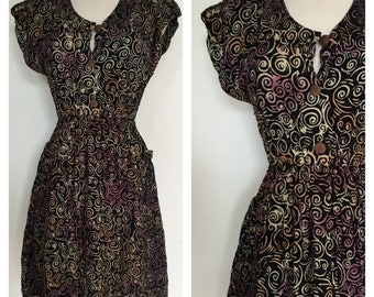 1980s Summer Dress - Made in Indonesia Ethnic Batik 80s Dress