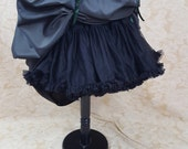 Dark Green Black Shot Steampunk Full Length Bustle Skirt-One Size Fits All