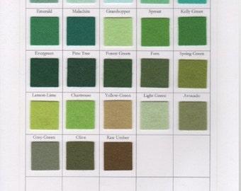 Wool Felt Square, Wool Yardage, Green Felt,  Merino Wool, Penny Rugs, Felted Wool, Applique, DIY Felt Crafts