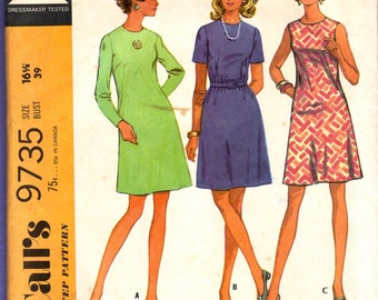 1960s McCalls 9735 Misses Half Size A Line Basic Dress Pattern Womens Vintage Sewing Pattern Size 16 1/2 Bust 39