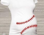 Sparkly baseball maternity shirt glitter belly custom womens non-maternity or maternity shirt - fun pregnancy announcement shirt