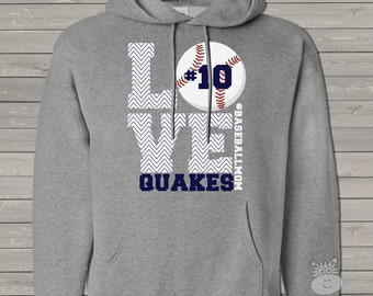 Baseball mom hoodie sweatshirt LOVE - great gift for birthday or Mother's Day