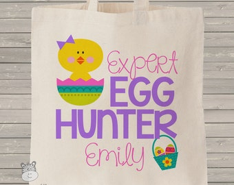 Easter egg hunter girl personalized tote bag - choose value or heavyweight tote MBAG-003