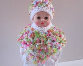 Huggums Baby Doll Clothes, Doll Poncho and Hat, Crochet Doll Clothes, Multi-colored Doll Poncho and Hat, Fits Huggums and 12 inch Dolls