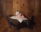 Newborn Aviator Hat, Baby Boy Hat,  Newborn Photography Prop, Crochet Baby Hat, Fits Most Newborn Babies, Color: Barley