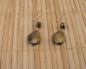 Brown Gold Earrings Brown Teardrop Earrings Brown Crystal Earrings Brown Shell Drops Black Shimmery Dangles Brown Faceted Earring Rare Find
