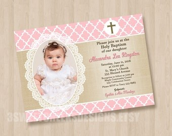 Sweet Blush Pink Holy Baptism Christening 1st Birthday Invitation Digital File Beautiful with Photo