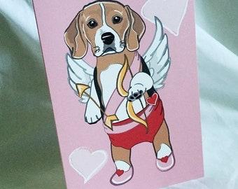 Cupid Beagle Greeting Card