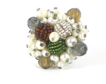 Cocktail Ring - Vintage Faux Pearl Glass And Acrylic Cocktail Silver Tone  Adjustable Ring