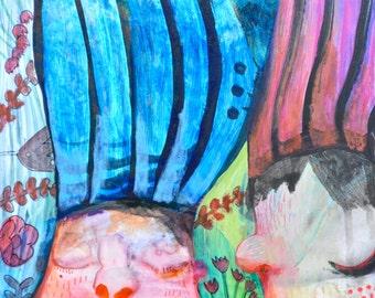OOAK Original Colorful Hair Painting on Aquabord