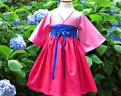 Mulan Birthday Dress - Little Girl Dresses - Toddler Clothes - Kimono - Pink - Boutique - sleeves - Kids sizes 12 months to 14 years
