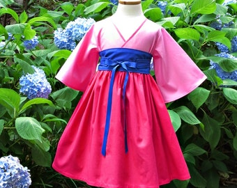 Girls Mulan Birthday Dress - Little Girls Dresses - Toddler Girl Clothes - Kimono Dress - Party Dress - 12 months to 14 years