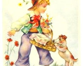 Country BOY, Lunch Basket, Flowers,  sweet DOG - vintage Postcard - Years 1950 - HUMOR - French written - Good condition, fresh colors -