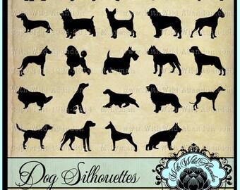 Dog Silhouettes, Dog svg, Golden Retriever, Collie, Pitbull, Great Dane, Dobermnan Silhouette Design, Cricut Design