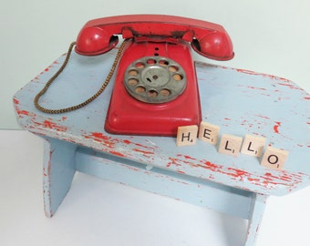 "Vintage Toy Play Telephone with Rotary Dial, Red Metal, Cord Intact, ""Hello"" Scrabble Letters"