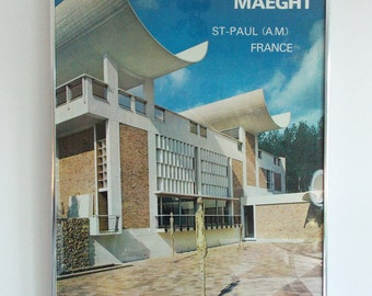 European 1970s Maeght Museum poster / framed 60s 70s french exhibition print / Modernist art architecture