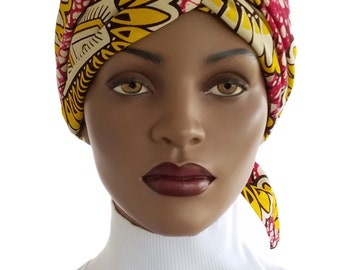African Head Wrap Hat Scarf Cotton Pink Yellow Black Satin Lined Genuine Angel Cotton Chemo Wrap Natural Hair Wrap Turban Handmade