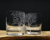 2 Whiskey Glasses Double Old Fashioned Hand Engraved 'Branches and Leaves' Crystal Glass Bar ware