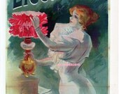 French Poster - Electricine - 1895 Lefevre -  Paraffin for Lamp Advertisement  1968 Reproduction Print 8-1/2 x 12