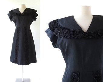1940s Black Dress | Berlin Express | 40s Dress | Large L