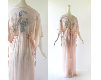 Vintage 1920s Robe / Silk Dressing Gown / 20s Peignoir / One Size
