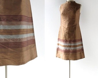 60s Shift Dress | Bronze Dress | Vintage 1960s Dress | Small S