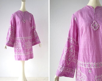 Vintage 1960s Dress | Shambhala | Bohemian Dress | 60s Dress  | Embroidered Dress | M L