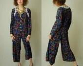 Wide Leg Jumpsuit Vintage 90s Black Floral Grunge Boho Wide Leg Draped Jumpsuit (s m)