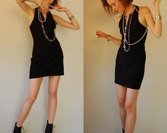 Halter Mini Dress Vintage 80s Little Black Stretchy Body Con Halter Mini Dress (s)