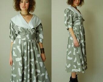 Avante Garde 80s Dress Vintage 80s Beige Op Art Graphic Draped Indie Boho Party Dress (m l)