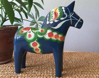 Vintage Blue Dala Horse