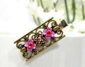 RESERVED - Pink Hair Clip Bronze Barrette Bronze Hair Clip Flower Hair Pin