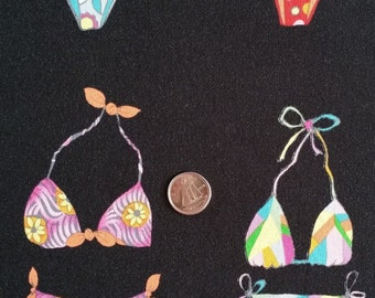 PT024 ~ Black fabric Bathing suits Bikini fabric Novelty fabric Colorful bikinis