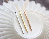CLEARNACE GOLD Long Bar Necklace - Vertical Long Skinny Bar Necklace Layering Necklace Solid Bar Gold Bar Silver Bar Rose Gold Bar