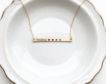 Engraved Birthstone Bar Necklace - Thin Personalized Birthstone Nameplate / Engraved Christmas Mother's Day Birthday Gift / Silver Gold Rose