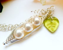Pea Pod Necklace Three Peas in a Pod Peapod  Wire Wrapped with Pearls With Tiny Glass Leaf Charm