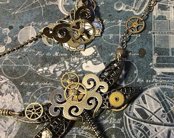 Steampunk Dragonfly Jewelry, Dragonfly Necklace,  Insect Jewelry, Statement Necklace, Made in USA,