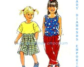 368 Simplicity 7709 Childs Short Sleeve or Sleeveless Tops Pull-on Pants Shorts sizes 3 4 5 6 7 8 Vintage Sewing Pattern Uncut