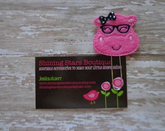 Felt Planner Clips - Hot Pink And Black Nerdy Girl Hippo Paper Clip Or Bookmark - Zoo Animal Accessories For Planners, Calendars, Or Books