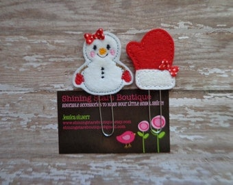 Planner Accessories - Red And White Snow Girl With Matching Mitten Paper Clip Or Bookmark Set - Winter Holiday Accessory For Kids