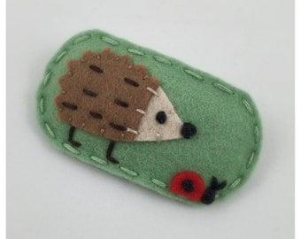 Design Seen In  Pregnancy & Newborn Magazine Hedgehog, Hedgehog Felt Hair Clip, Felt Hair Clip, Mint Green