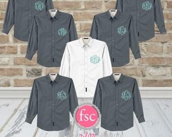 7 Bridesmaid oxford shirts, monogrammed oxford shirts, getting ready shirts, bridal party gifts , wedding day shirts ,