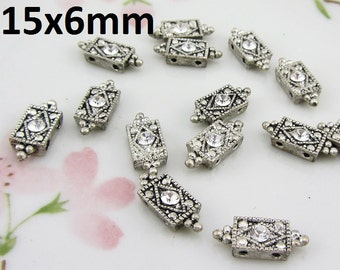 14 pcs - Antique Silver Beads Charms Findings Spacers Beads